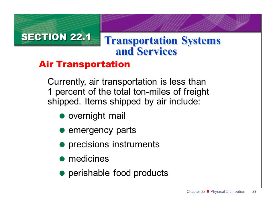 Chapter 22 Physical Distribution 29 SECTION 22.1 Transportation Systems and Services Currently, air transportation is less than 1 percent of the total ton-miles of freight shipped.