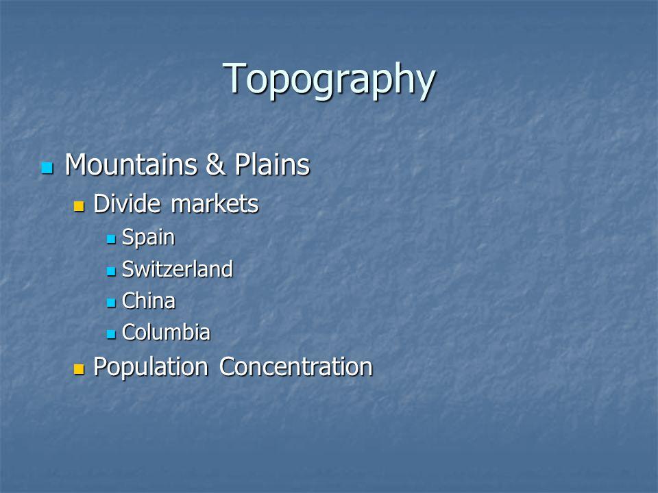 Topography Deserts Deserts Australia Australia Tropical Rain Forest Tropical Rain Forest Canadian Shield Canadian Shield 50% land area; 10% of population 50% land area; 10% of population