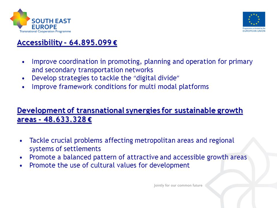Accessibility - 64.895.099 € Improve coordination in promoting, planning and operation for primary and secondary transportation networks Develop strategies to tackle the digital divide Improve framework conditions for multi modal platforms Development of transnational synergies for sustainable growth areas - 48.633.328 € Tackle crucial problems affecting metropolitan areas and regional systems of settlements Promote a balanced pattern of attractive and accessible growth areas Promote the use of cultural values for development