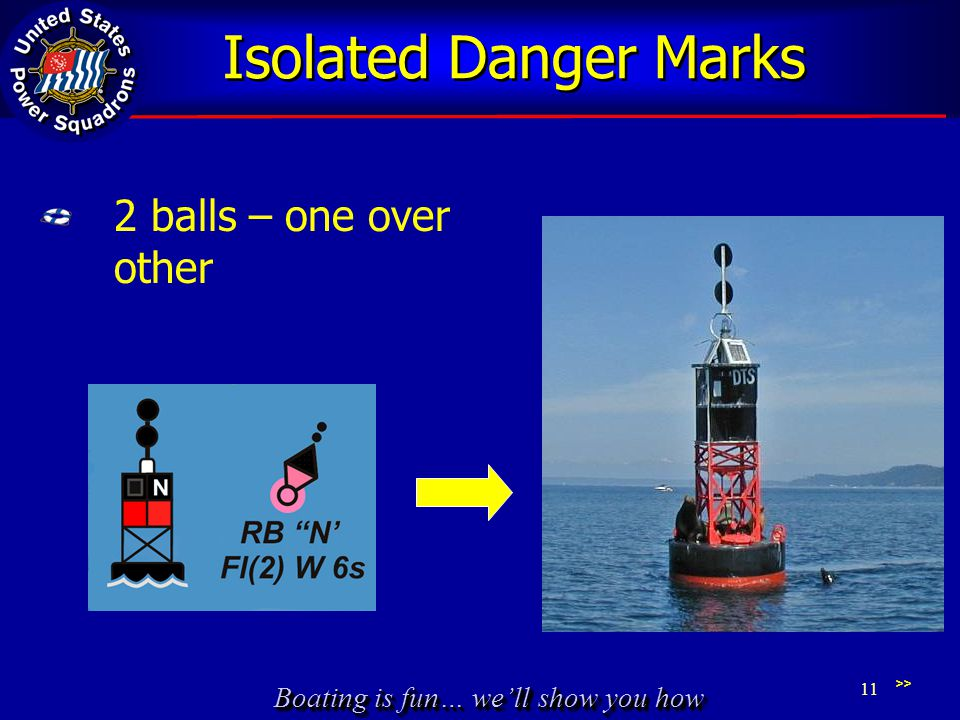 Boating is fun… we'll show you how Isolated Danger Marks 2 balls – one over other >> 11