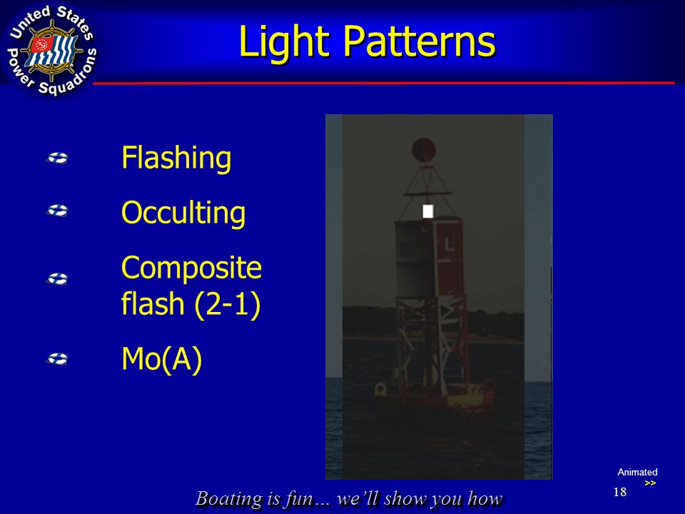 Boating is fun… we'll show you how Light Patterns Flashing Occulting Composite flash (2-1) Mo(A) Animated >> 18