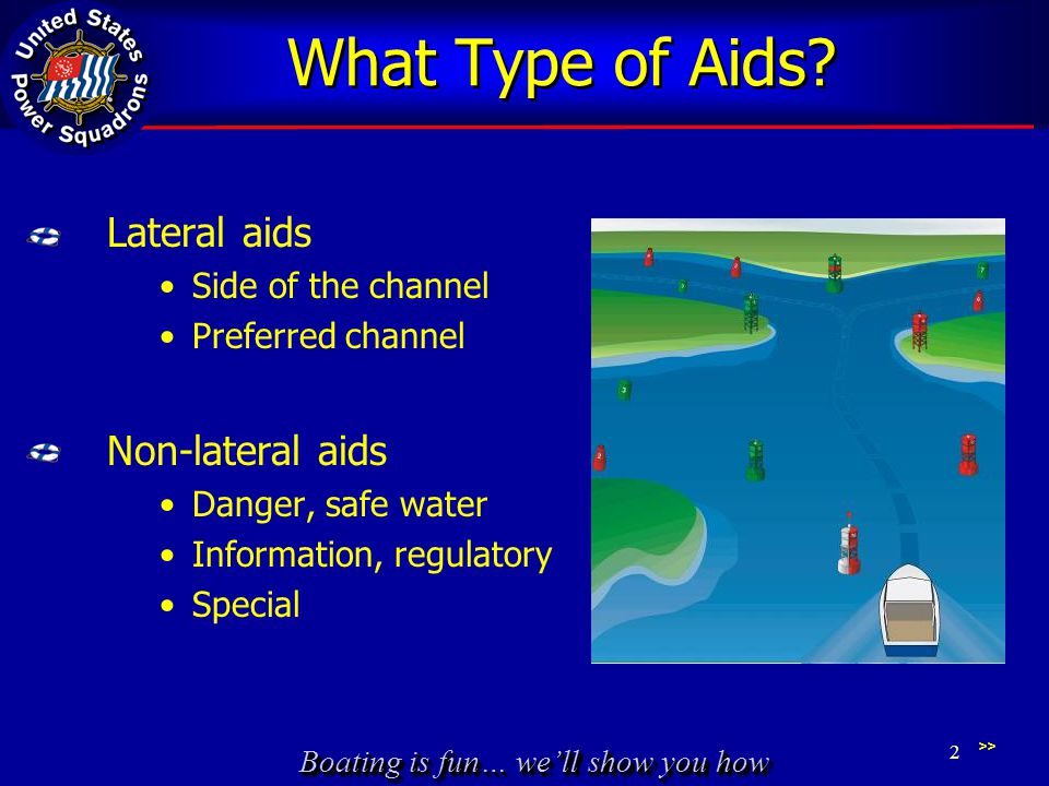 Boating is fun… we'll show you how What Type of Aids? Lateral aids Side of the channel Preferred channel Non-lateral aids Danger, safe water Informati