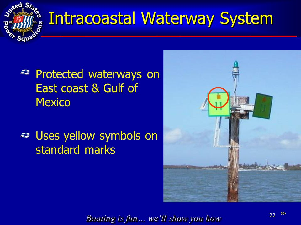 Boating is fun… we'll show you how Intracoastal Waterway System Protected waterways on East coast & Gulf of Mexico Uses yellow symbols on standard mar