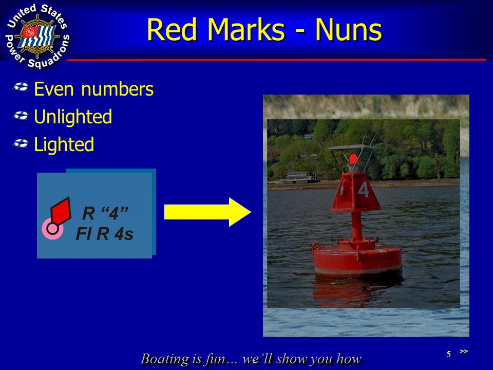 Boating is fun… we'll show you how Red Marks - Nuns Even numbers Unlighted Lighted >> 5