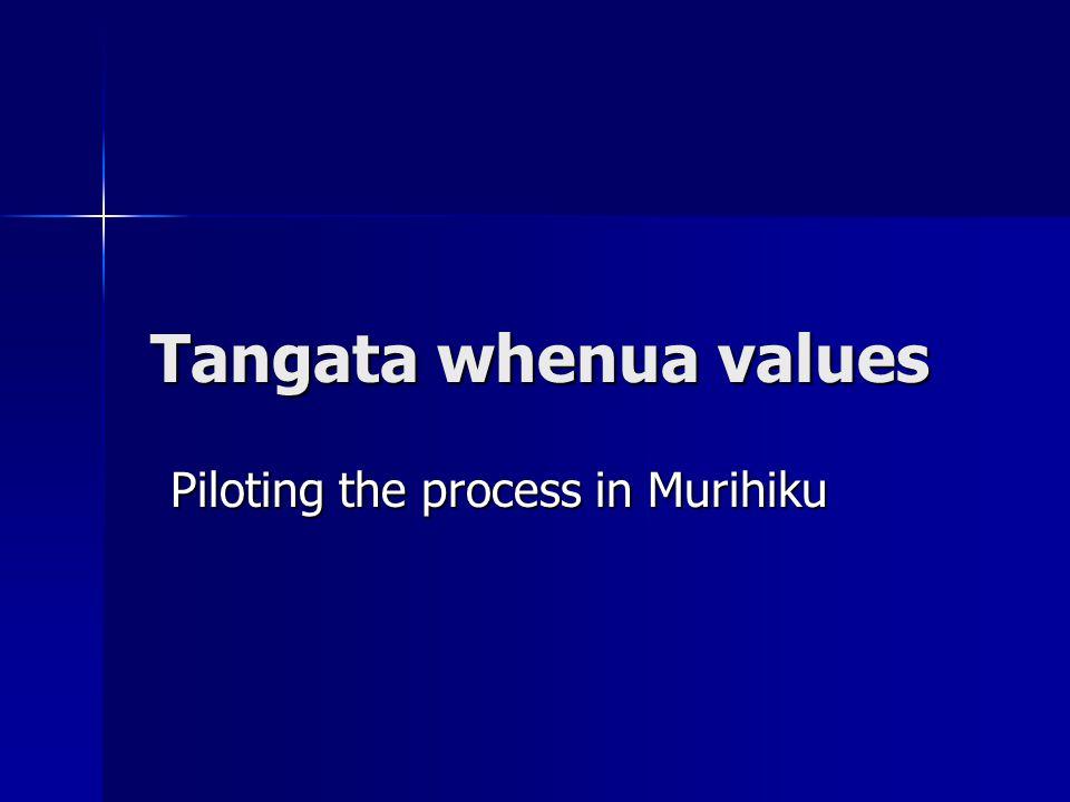 Tangata whenua values Piloting the process in Murihiku