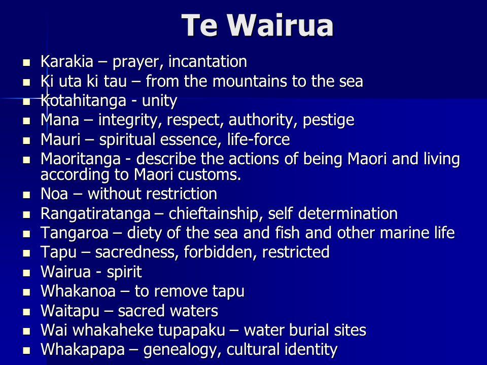 Te Wairua Karakia – prayer, incantation Karakia – prayer, incantation Ki uta ki tau – from the mountains to the sea Ki uta ki tau – from the mountains to the sea Kotahitanga - unity Kotahitanga - unity Mana – integrity, respect, authority, pestige Mana – integrity, respect, authority, pestige Mauri – spiritual essence, life-force Mauri – spiritual essence, life-force Maoritanga - describe the actions of being Maori and living according to Maori customs.