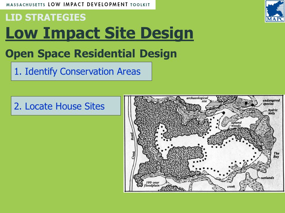 LID STRATEGIES Low Impact Site Design Open Space Residential Design 1.