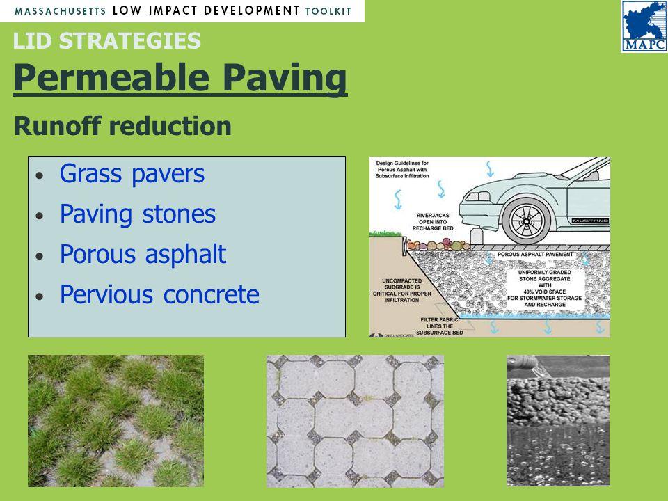 LID STRATEGIES Permeable Paving Grass pavers Paving stones Porous asphalt Pervious concrete Runoff reduction