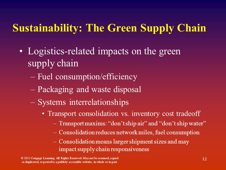 Sustainability: The Green Supply Chain Logistics-related impacts on the green supply chain –Fuel consumption/efficiency –Packaging and waste disposal –Systems interrelationships Transport consolidation vs.