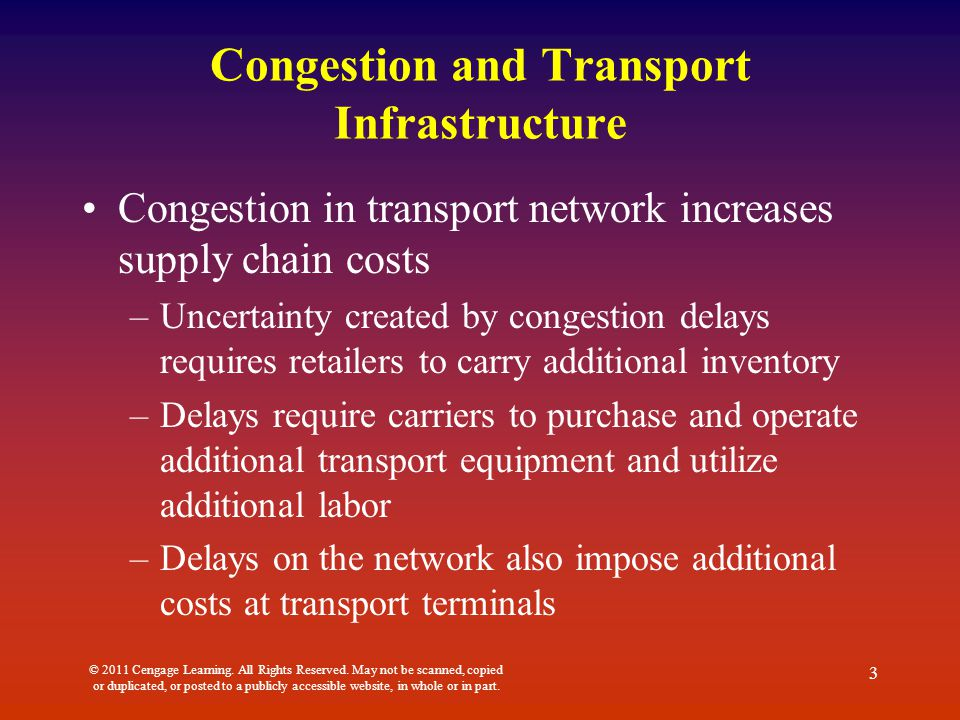 Congestion and Transport Infrastructure Congestion in transport network increases supply chain costs –Uncertainty created by congestion delays require