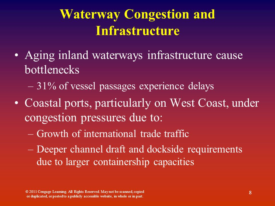 Waterway Congestion and Infrastructure Aging inland waterways infrastructure cause bottlenecks –31% of vessel passages experience delays Coastal ports, particularly on West Coast, under congestion pressures due to: –Growth of international trade traffic –Deeper channel draft and dockside requirements due to larger containership capacities © 2011 Cengage Learning.