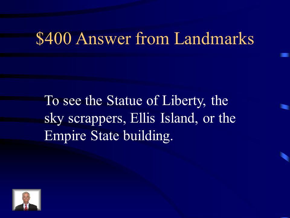 $400 Question from Landmarks Name two reasons to visit New York