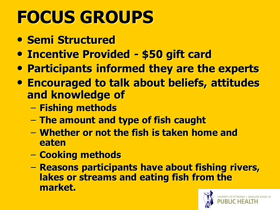 FOCUS GROUPS Semi Structured Semi Structured Incentive Provided - $50 gift card Incentive Provided - $50 gift card Participants informed they are the experts Participants informed they are the experts Encouraged to talk about beliefs, attitudes and knowledge of Encouraged to talk about beliefs, attitudes and knowledge of –Fishing methods –The amount and type of fish caught –Whether or not the fish is taken home and eaten –Cooking methods –Reasons participants have about fishing rivers, lakes or streams and eating fish from the market.