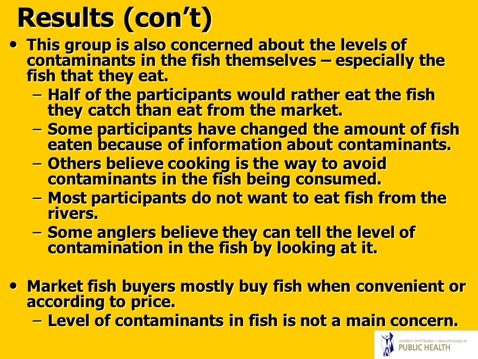 Results (con't) This group is also concerned about the levels of contaminants in the fish themselves – especially the fish that they eat.