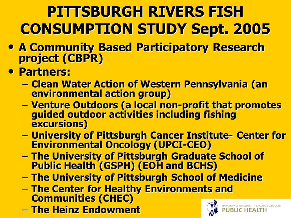 PITTSBURGH RIVERS FISH CONSUMPTION STUDY Sept.