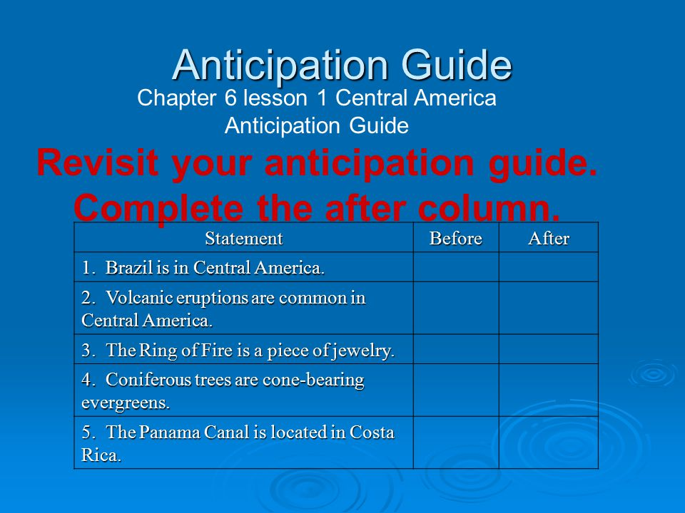 Anticipation Guide Chapter 6 lesson 1 Central America Anticipation Guide Revisit your anticipation guide.