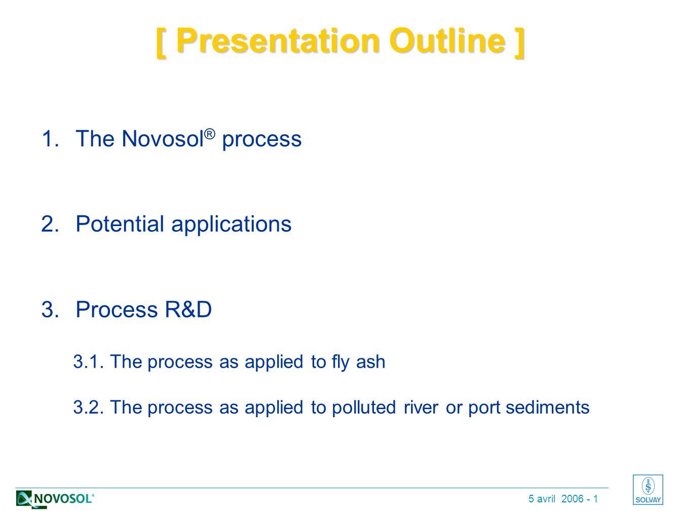 5 avril 2006 - 1 [ Presentation Outline ] 1.The Novosol ® process 2.Potential applications 3.Process R&D 3.1.