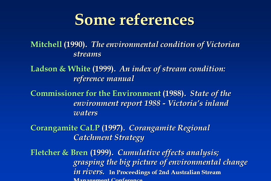 Some references Mitchell (1990).