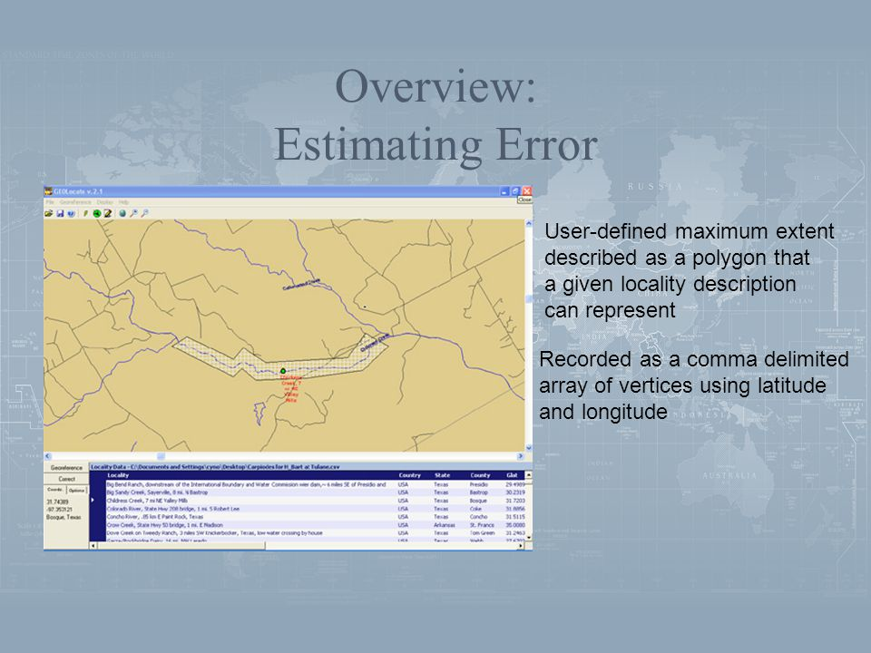 Overview: Estimating Error Recorded as a comma delimited array of vertices using latitude and longitude User-defined maximum extent described as a polygon that a given locality description can represent