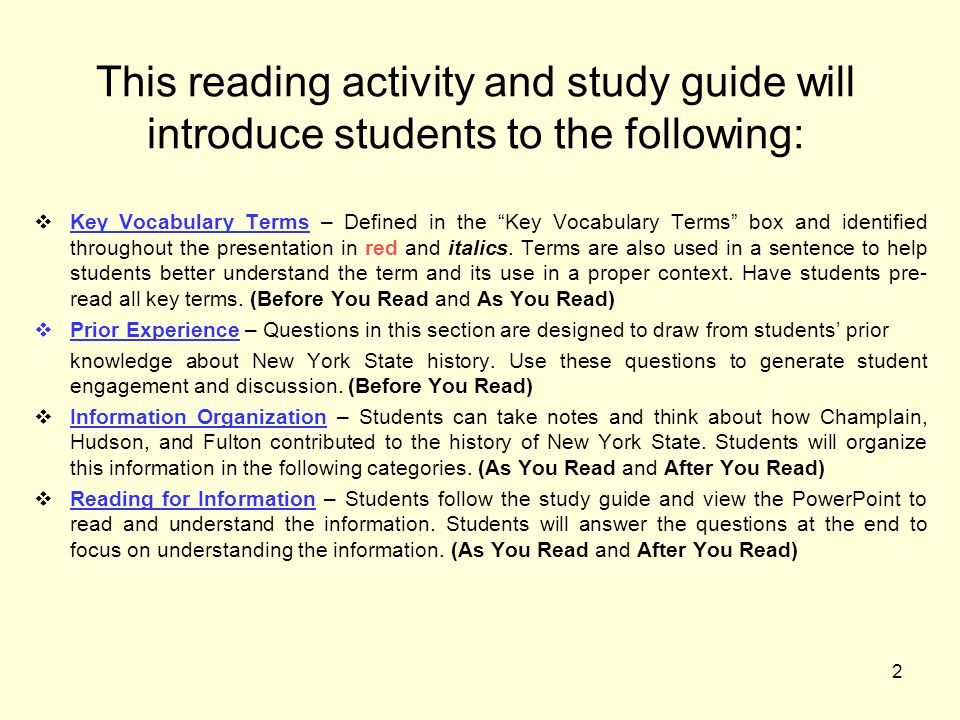 2 This reading activity and study guide will introduce students to the following:  Key Vocabulary Terms – Defined in the Key Vocabulary Terms box and identified throughout the presentation in red and italics.