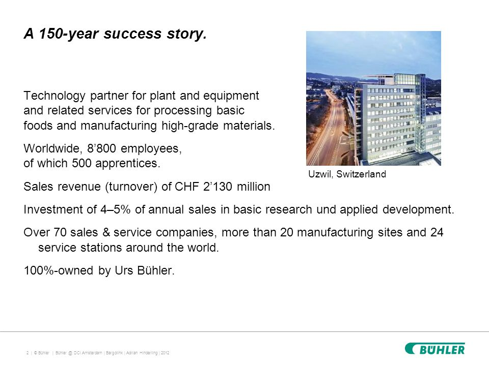 2 | © Bühler | A 150-year success story.
