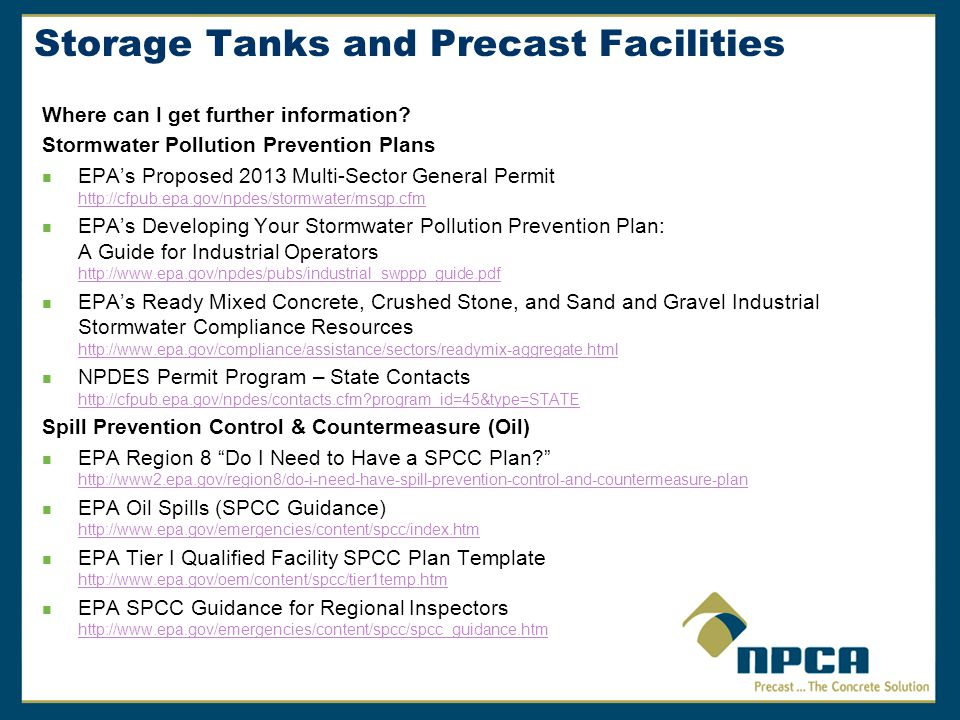 Storage Tanks and Precast Facilities Where can I get further information.