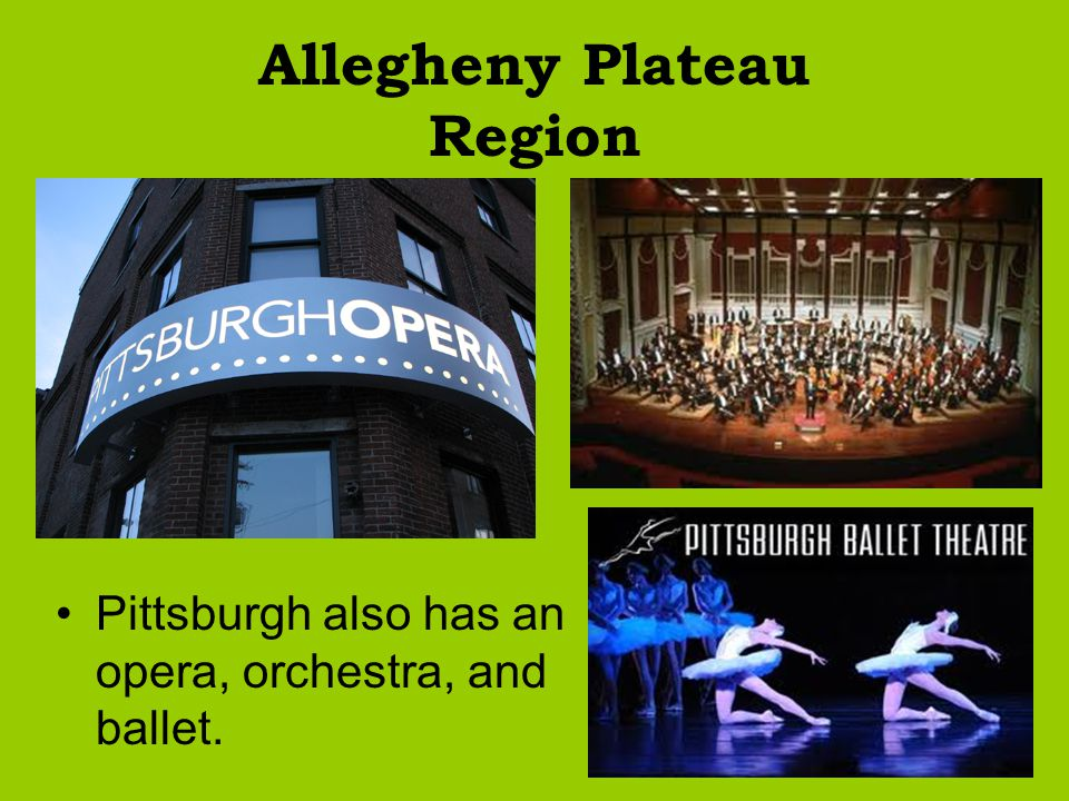 Allegheny Plateau Region Pittsburgh also has an opera, orchestra, and ballet.