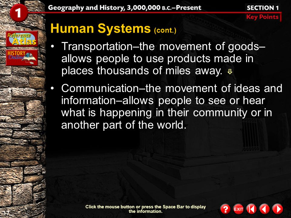 16 Section 1-6 Click the mouse button or press the Space Bar to display the information. Geographers also examine human systems, or how people have sh