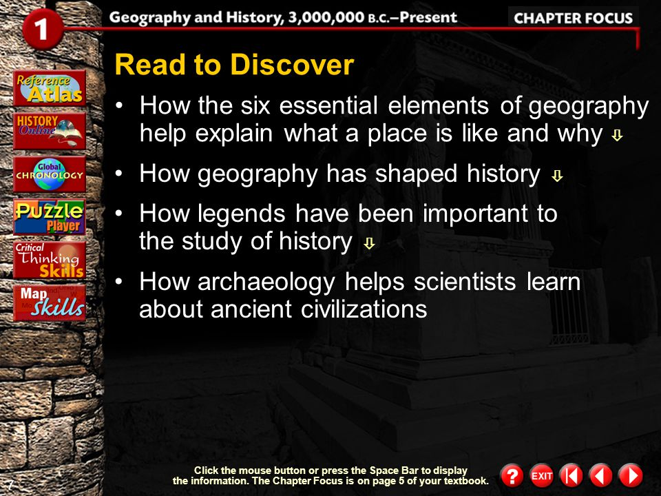 6 Chapter Focus 2 Objectives describe how the six essential elements of geography help explain what a place is like and why.  After studying this cha