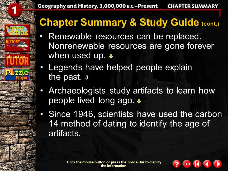 82 Chapter Summary 2 Chapter Summary & Study Guide (cont.) Click the mouse button or press the Space Bar to display the information. Climate is shaped