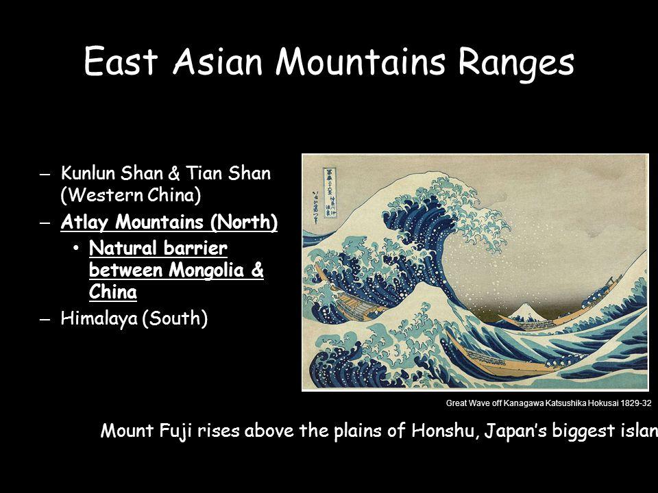 East Asian Mountains Ranges –Kunlun Shan & Tian Shan (Western China) –Atlay Mountains (North) Natural barrier between Mongolia & China –Himalaya (Sout