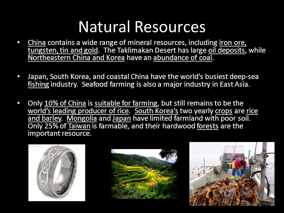 Natural Resources China contains a wide range of mineral resources, including iron ore, tungsten, tin and gold. The Taklimakan Desert has large oil de