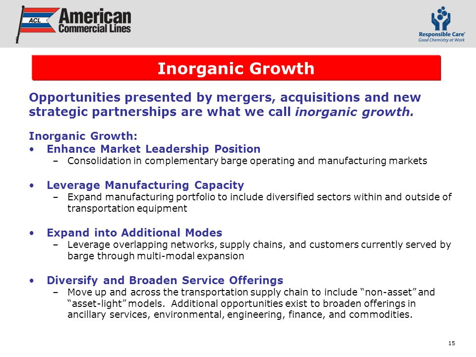 15 Inorganic Growth: Enhance Market Leadership Position –Consolidation in complementary barge operating and manufacturing markets Leverage Manufacturing Capacity –Expand manufacturing portfolio to include diversified sectors within and outside of transportation equipment Expand into Additional Modes –Leverage overlapping networks, supply chains, and customers currently served by barge through multi-modal expansion Diversify and Broaden Service Offerings –Move up and across the transportation supply chain to include non-asset and asset-light models.