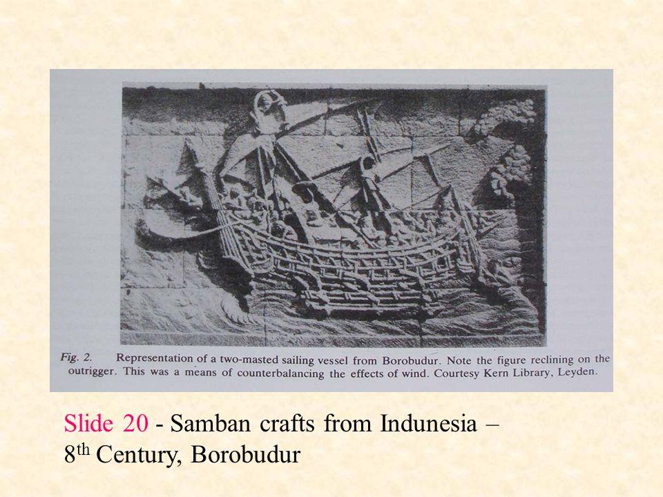Slide 20 - Samban crafts from Indunesia – 8 th Century, Borobudur
