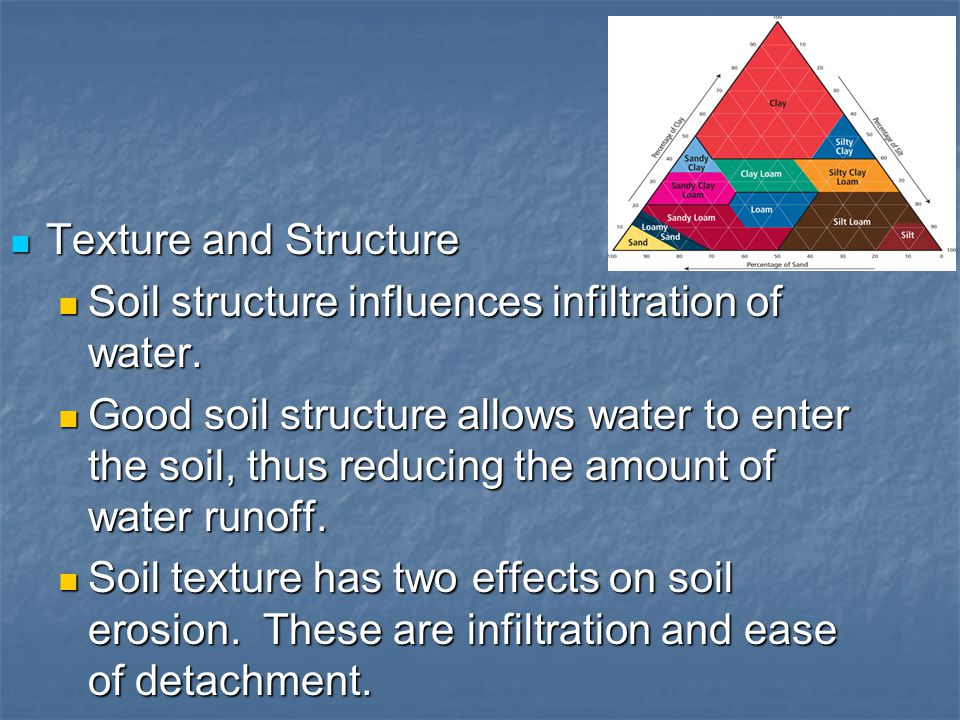 Texture and Structure Texture and Structure Soil structure influences infiltration of water. Soil structure influences infiltration of water. Good soi
