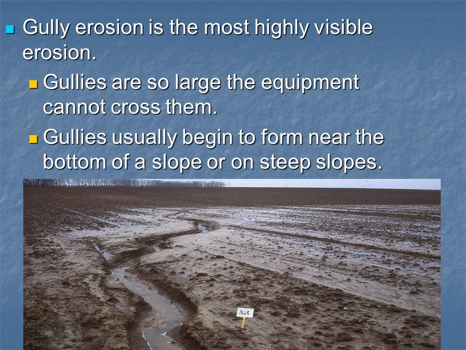 Gully erosion is the most highly visible erosion. Gully erosion is the most highly visible erosion. Gullies are so large the equipment cannot cross th