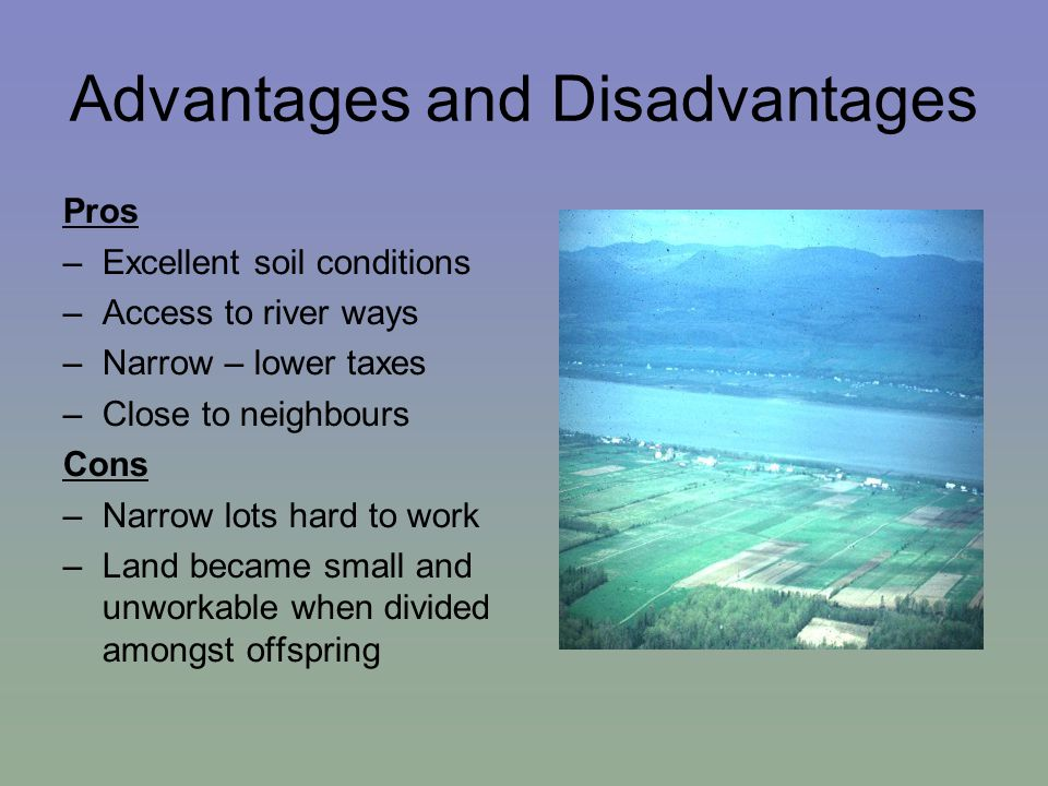 Advantages and Disadvantages Pros –Excellent soil conditions –Access to river ways –Narrow – lower taxes –Close to neighbours Cons –Narrow lots hard to work –Land became small and unworkable when divided amongst offspring