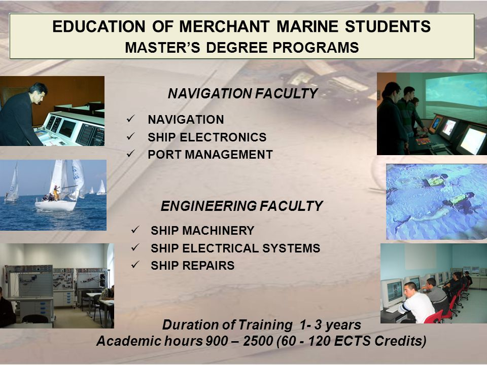 OCEAN ENGINEERING CURRICULUM Year Basic Sciences Technical Sciences Social sciences Humanities Physical Training Practice MathsOthers Foreign Languages Others 11801652257590453035 days 23090525459030 35 days 300630060030100 days 400525301500022 days Total21025519051503907590192 days Total – 3075 hours; 240 ECTS credits 2 State examinations