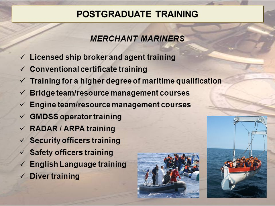 DOCTORAL DEGREE PROGRAMS SCIENTIFIC SPECIALTIES 02.14.12 Ship Operation and Navigation 02.14.14 Operation of Water Transport, Seaports and River ports 02.07.03 Radiolocation and Radionavigation 02.07.20 Communications Systems and Networks 02.03.05 Ship Power Plants and Machinery 02.03.04 Technology and Organization of Shipbuilding and Ship Repairing 02.04.15 Ship Power Supply and Electrical Systems 05.12.01 Organization and Management of the Armed Forces 05.06.11 Military Psychology