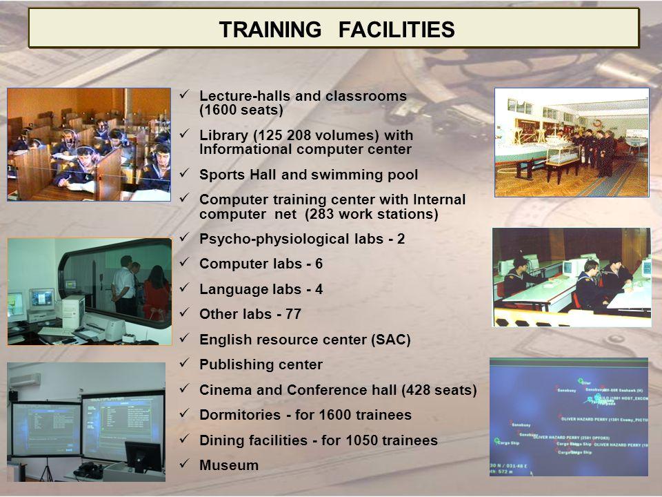 Sea born Training base (80 trainees) Tall-training ship Kaliakra (30 trainees) Boat base (10 row boats) Summer camp Simulators - 8 Polygons – 4 Planetarium (112 seats) Damage control centre Training workshop TRAINING FACILITIES