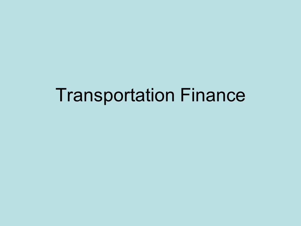 Transportation Finance
