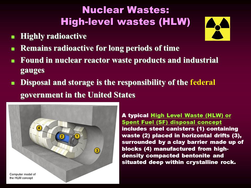 Nuclear Wastes: High-level wastes (HLW) Highly radioactive Highly radioactive Remains radioactive for long periods of time Remains radioactive for long periods of time Found in nuclear reactor waste products and industrial gauges Found in nuclear reactor waste products and industrial gauges Disposal and storage is the responsibility of the government in the United States Disposal and storage is the responsibility of the federal government in the United States A typical High Level Waste (HLW) or Spent Fuel (SF) disposal concept includes steel canisters (1) containing waste (2) placed in horizontal drifts (3), surrounded by a clay barrier made up of blocks (4) manufactured from high- density compacted bentonite and situated deep within crystalline rock.High Level Waste (HLW) or Spent Fuel (SF) disposal concept