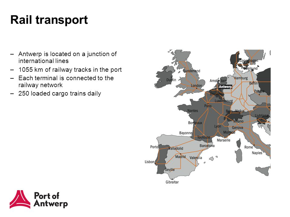 Rail transport –Antwerp is located on a junction of international lines –1055 km of railway tracks in the port –Each terminal is connected to the railway network –250 loaded cargo trains daily