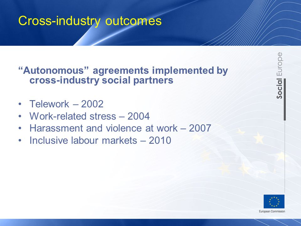 Cross-industry outcomes – Autonomous agreements implemented by cross-industry social partners Telework – 2002 Work-related stress – 2004 Harassment and violence at work – 2007 Inclusive labour markets – 2010