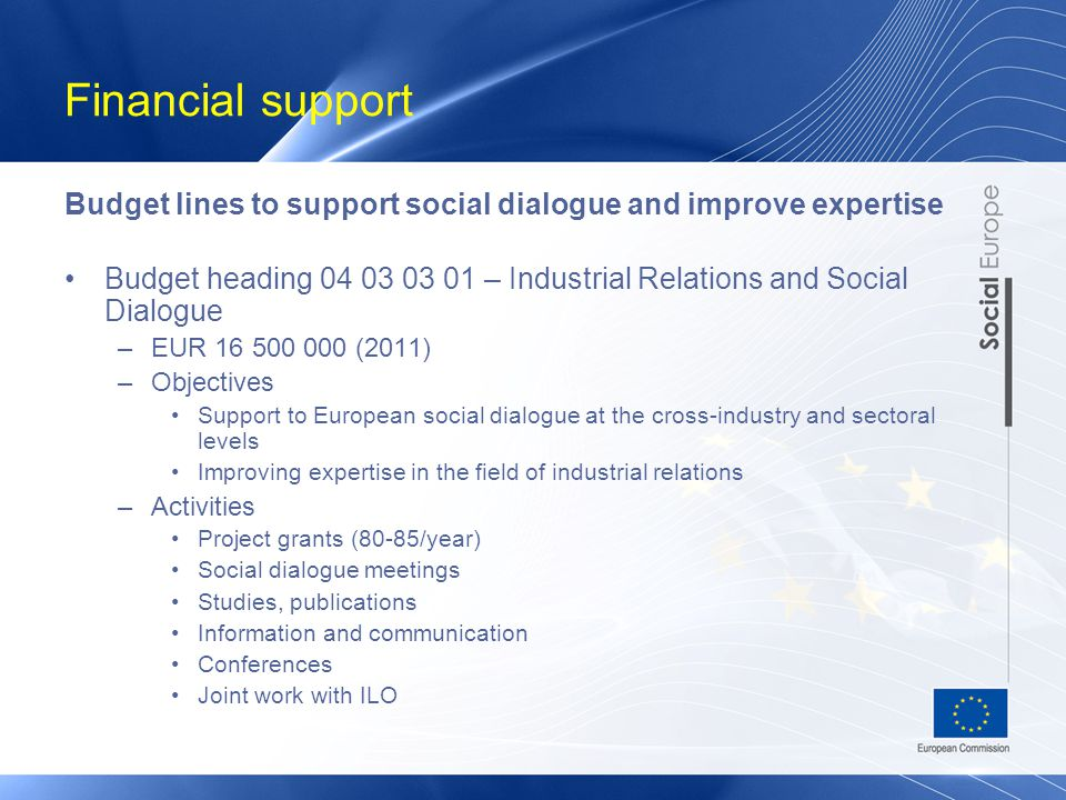 Financial support Budget lines to support social dialogue and improve expertise Budget heading 04 03 03 01 – Industrial Relations and Social Dialogue –EUR 16 500 000 (2011) –Objectives Support to European social dialogue at the cross-industry and sectoral levels Improving expertise in the field of industrial relations –Activities Project grants (80-85/year) Social dialogue meetings Studies, publications Information and communication Conferences Joint work with ILO