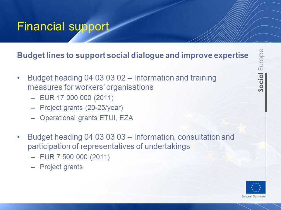 Financial support Budget lines to support social dialogue and improve expertise Budget heading 04 03 03 02 – Information and training measures for workers organisations –EUR 17 000 000 (2011) –Project grants (20-25/year) –Operational grants ETUI, EZA Budget heading 04 03 03 03 – Information, consultation and participation of representatives of undertakings –EUR 7 500 000 (2011) –Project grants