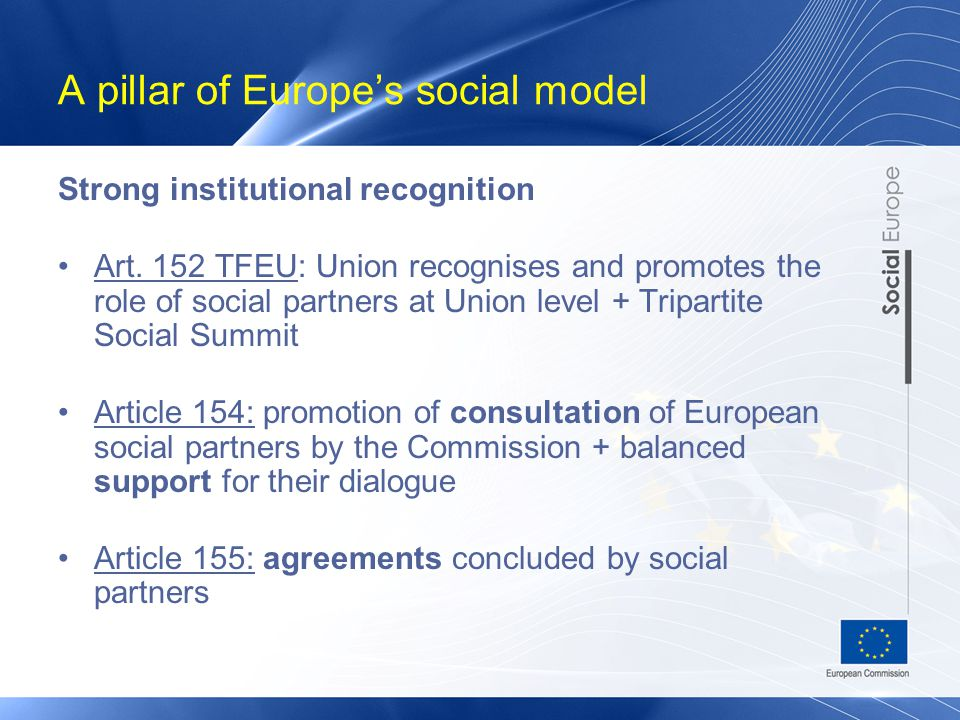 A pillar of Europe's social model Strong institutional recognition Art.