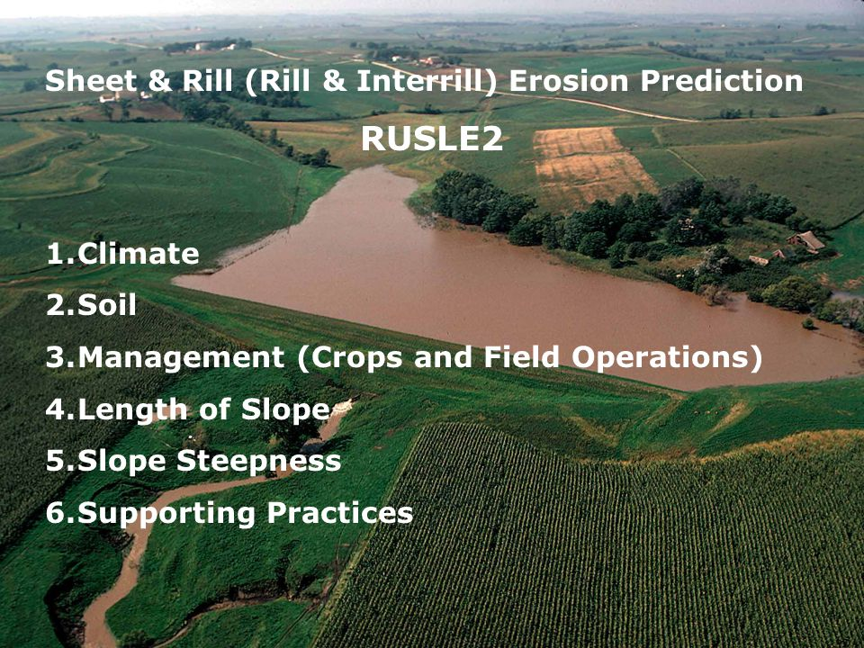 Sheet & Rill (Rill & Interrill) Erosion Prediction RUSLE2 1.Climate 2.Soil 3.Management (Crops and Field Operations) 4.Length of Slope 5.Slope Steepness 6.Supporting Practices