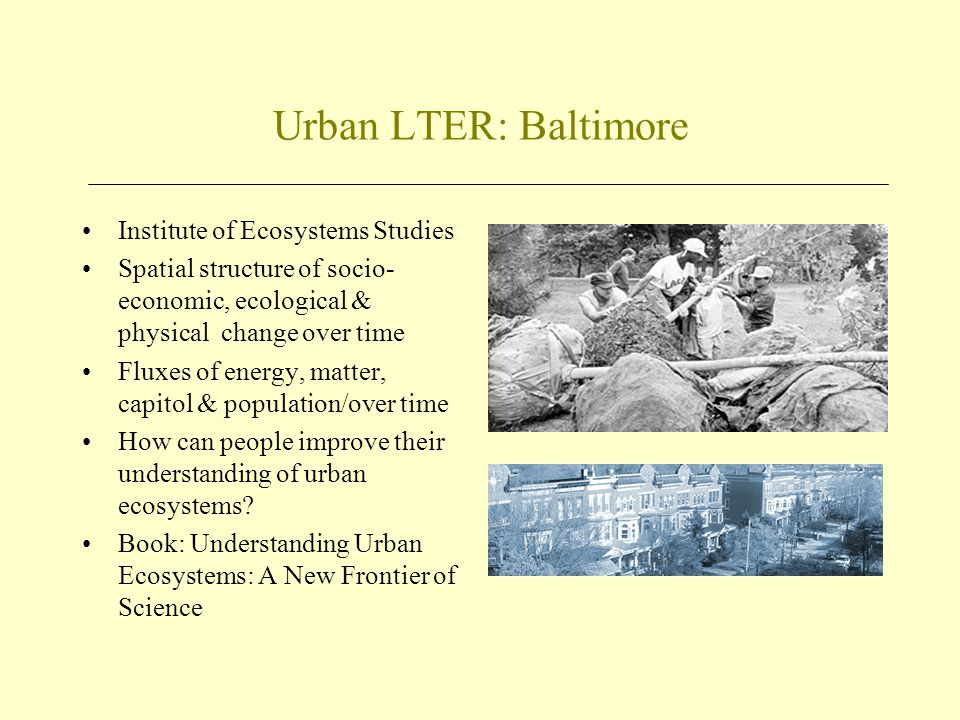 Urban LTER: Baltimore Institute of Ecosystems Studies Spatial structure of socio- economic, ecological & physical change over time Fluxes of energy, m