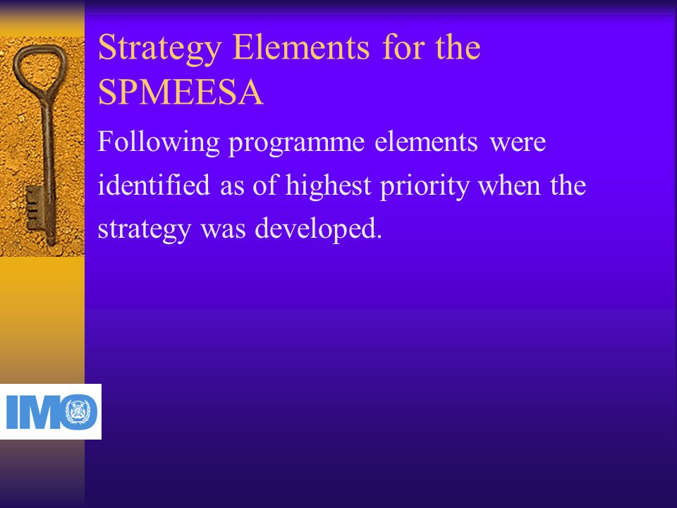 Strategy Elements for the SPMEESA Following programme elements were identified as of highest priority when the strategy was developed.